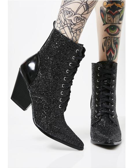 Vampy Good Witch Lace-Up Booties