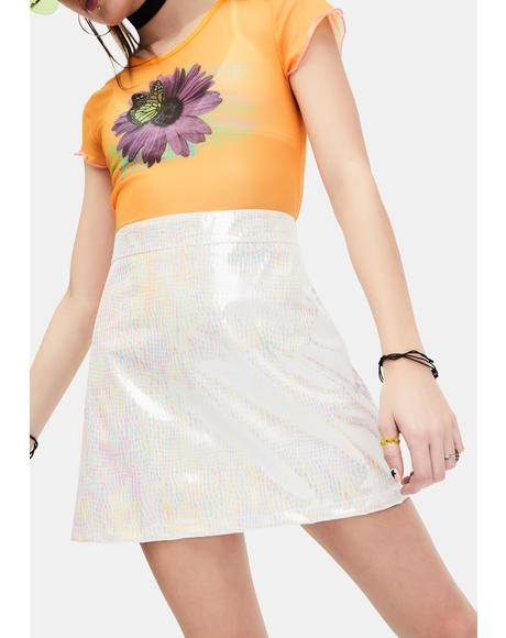 Starry Eyed Iridescent Mini Skirt