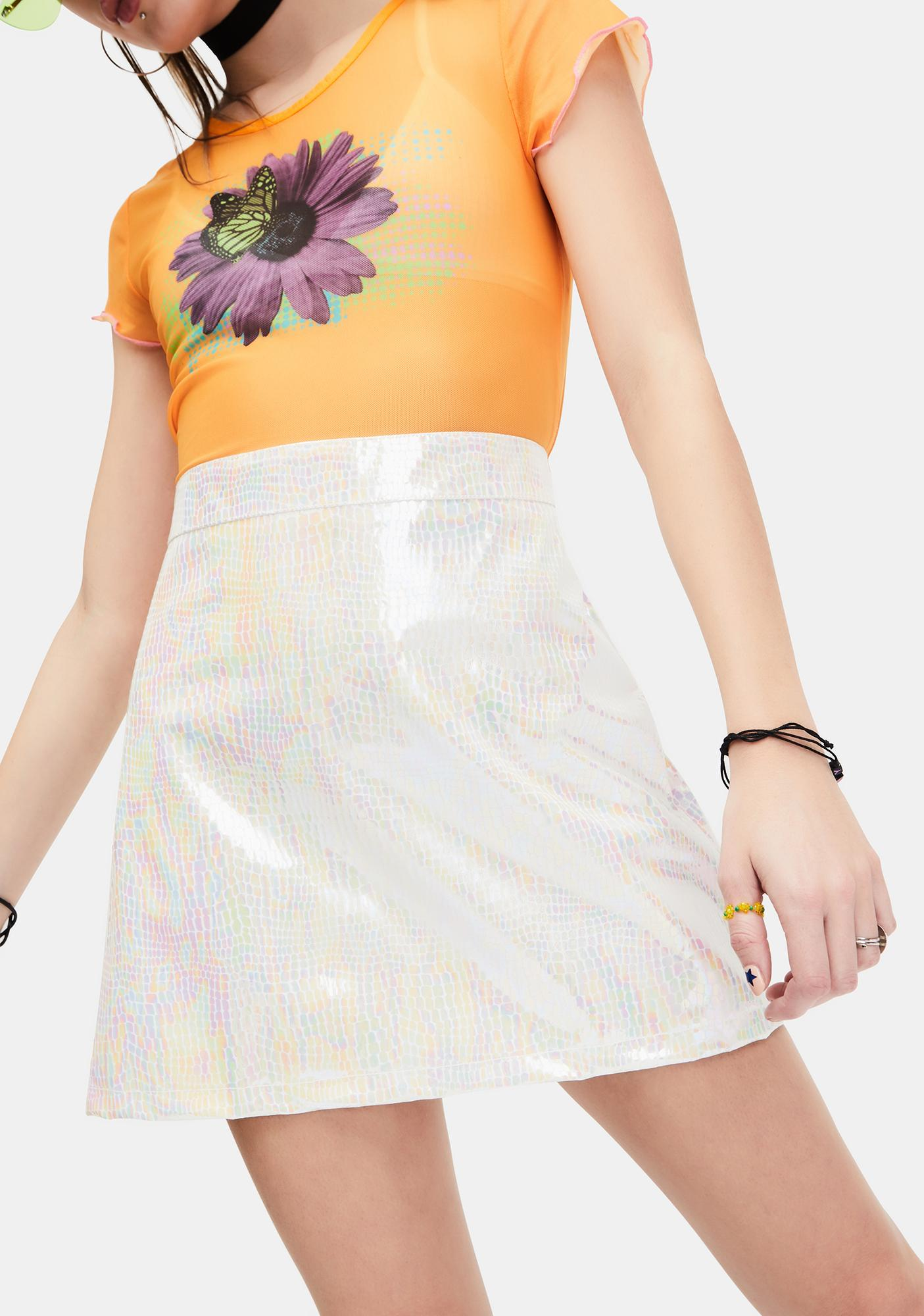 dELiA*s by Dolls Kill Starry Eyed Iridescent Mini Skirt