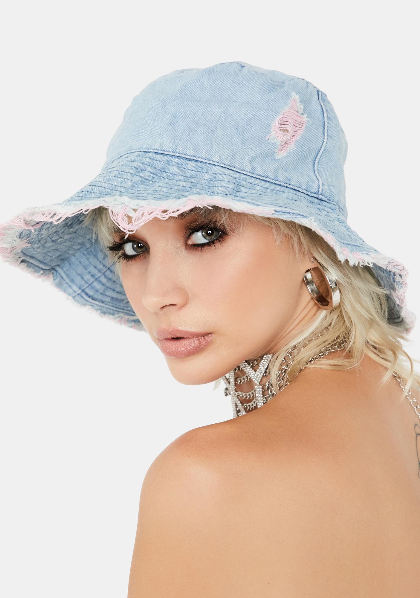 Blush Hidden Identity Denim Bucket Hat