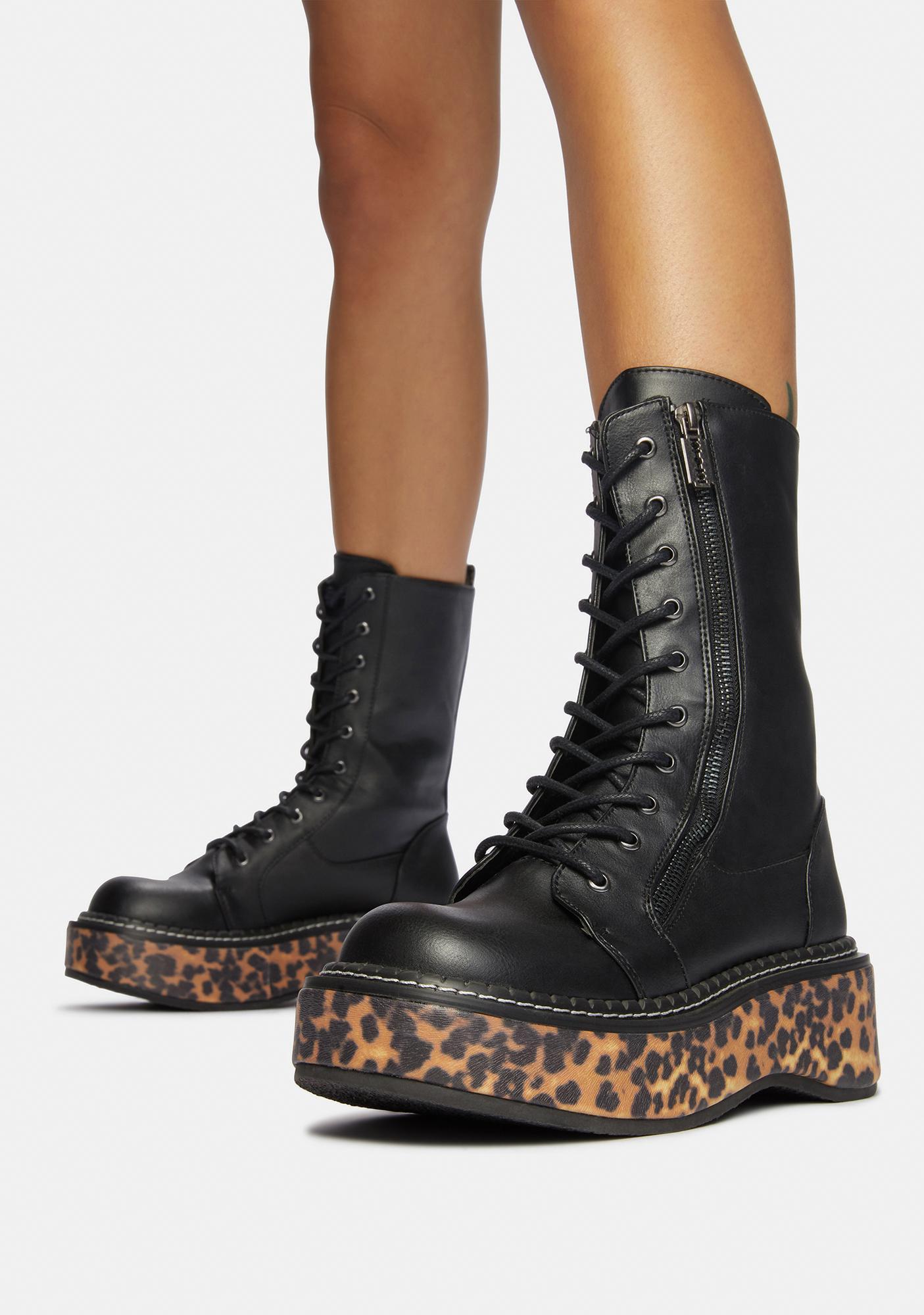 Demonia Fierce I'ma Cool Gal Combat Boots