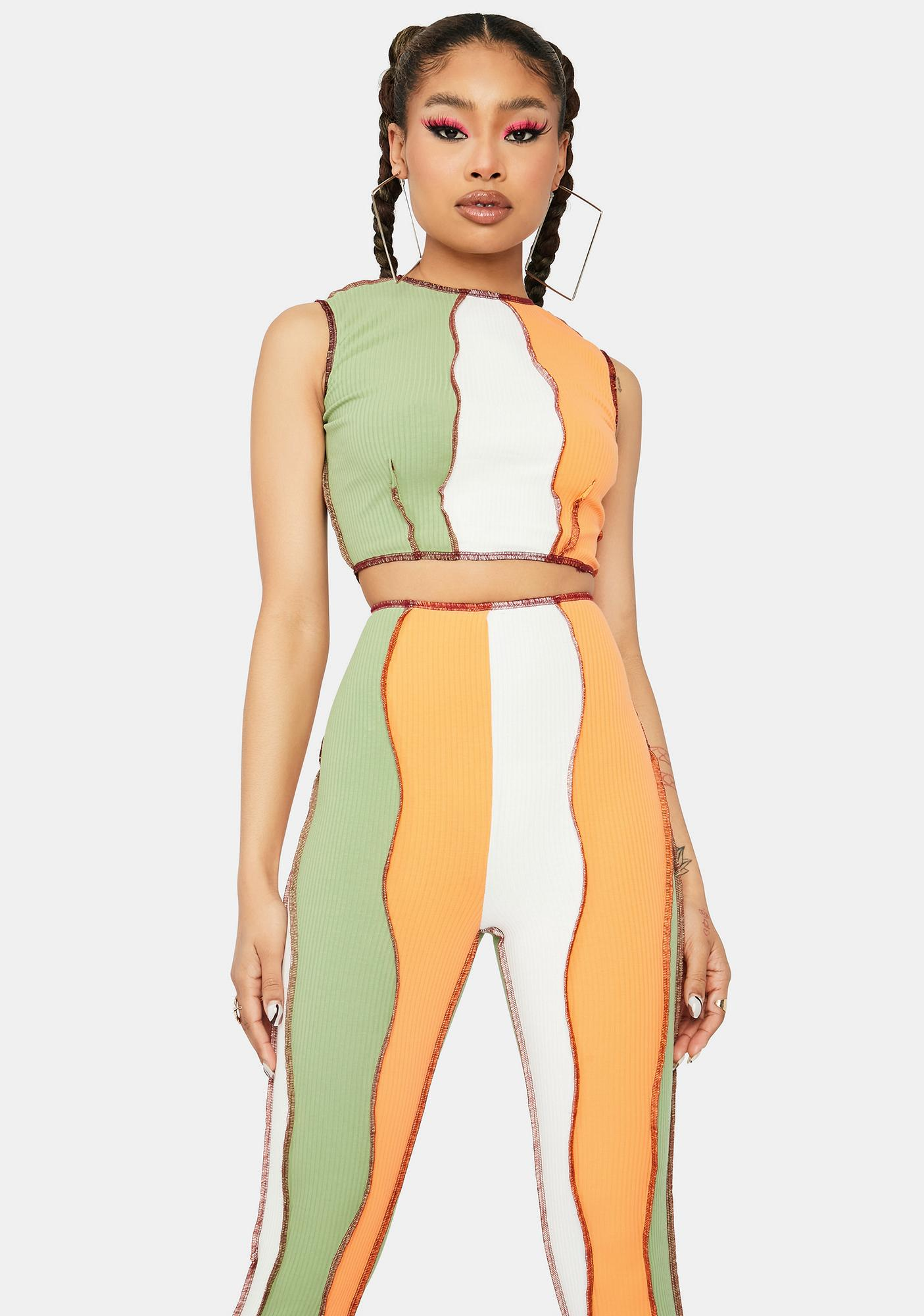 Sashay Away Colorblock Panel Pants Set