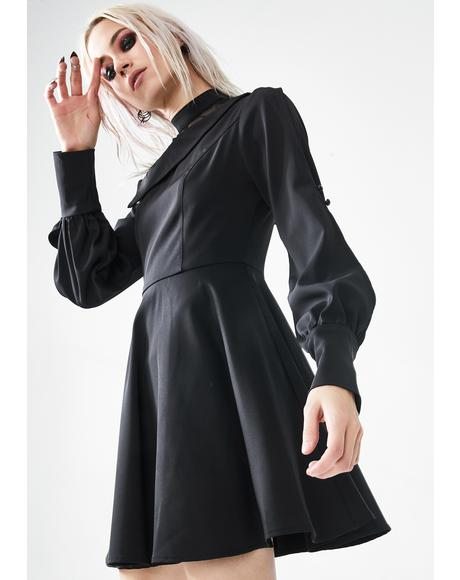 Black College Mock Neck Dress