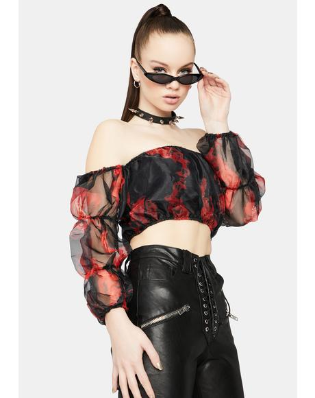 Truly Vicious Off Shoulder Fire Crop Top