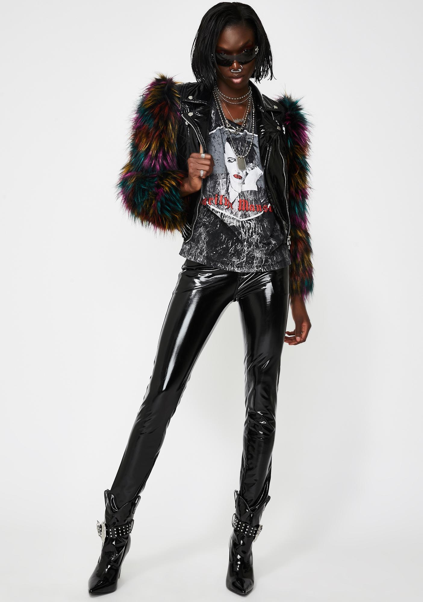 AZALEA WANG Jade Patent Leather Jacket