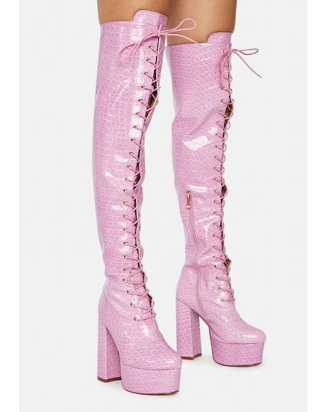 Polly Lace Up Croc Boots