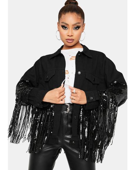 Night Glamour Fringe Denim Jacket