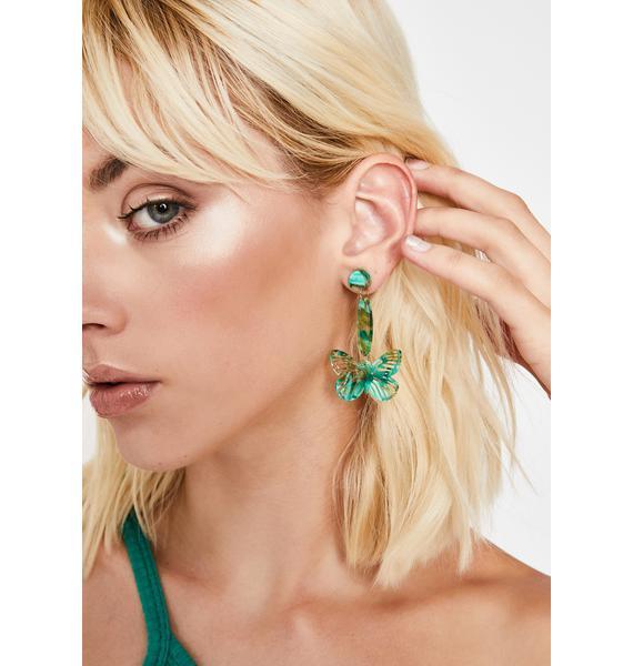 Forest Flutterin' Flirt Drop Earrings