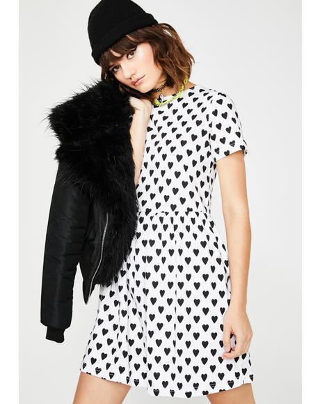 Heart Print Smock Dress