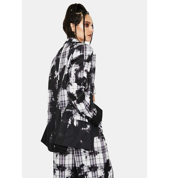 Jaded London Bleach Check Double Breasted Slouch Blazer