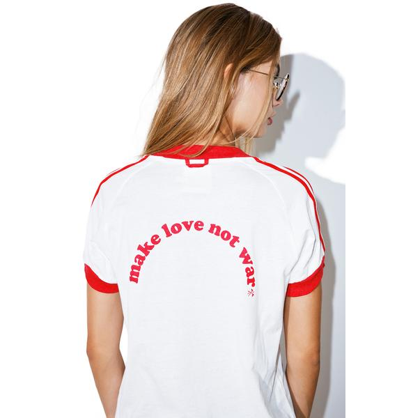 Camp Collection Make Love Not War Ringer Tee