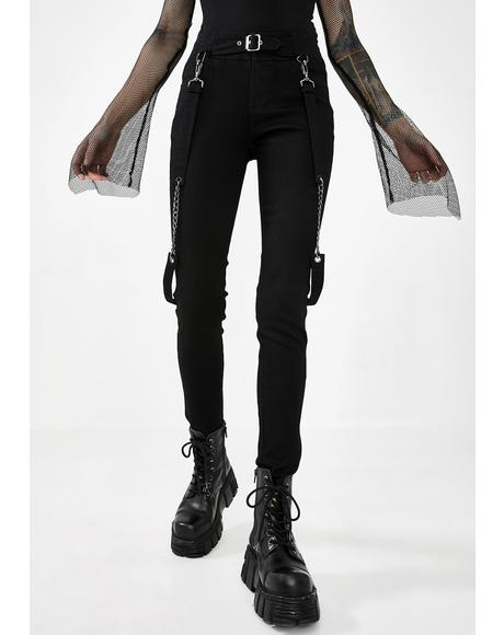 High Waisted Suspender Pants