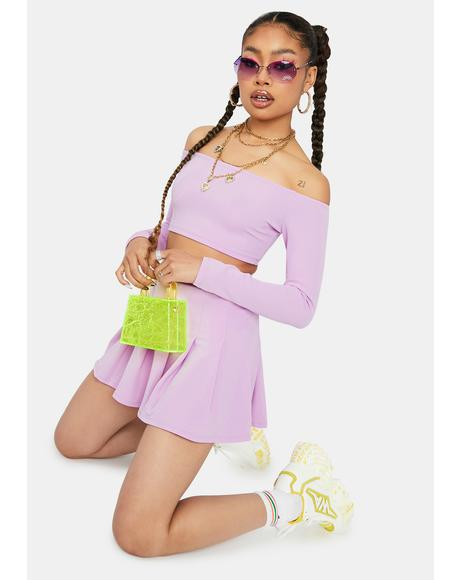 Lavender Cutie Confessions Pleated Mini Skirt Set