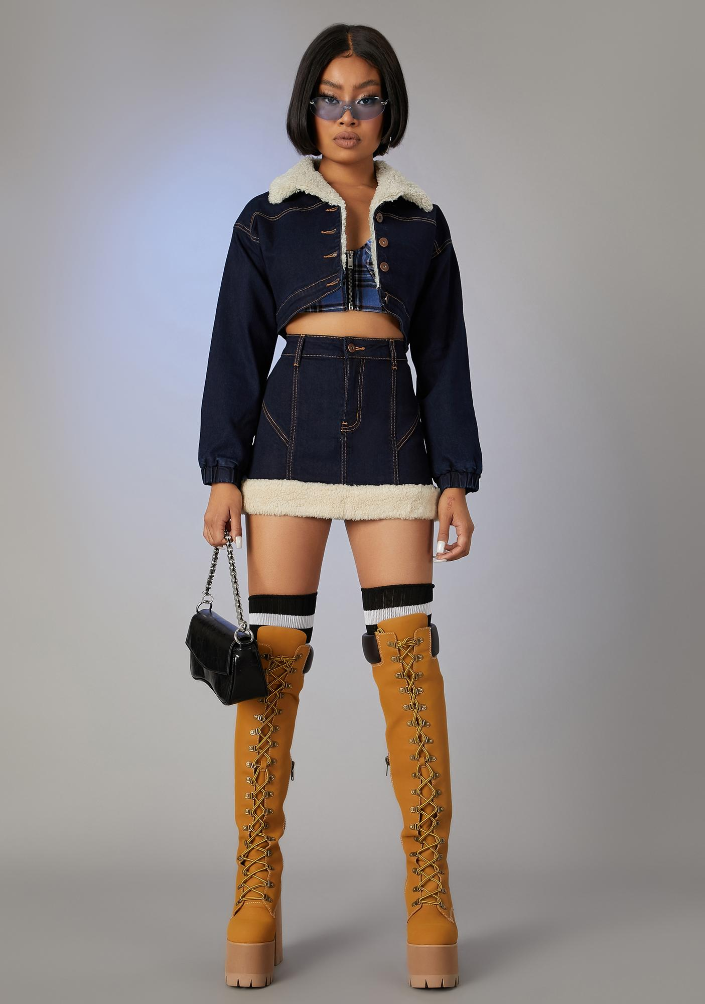 Poster Grl Attention Seeker Denim Puffer Jacket