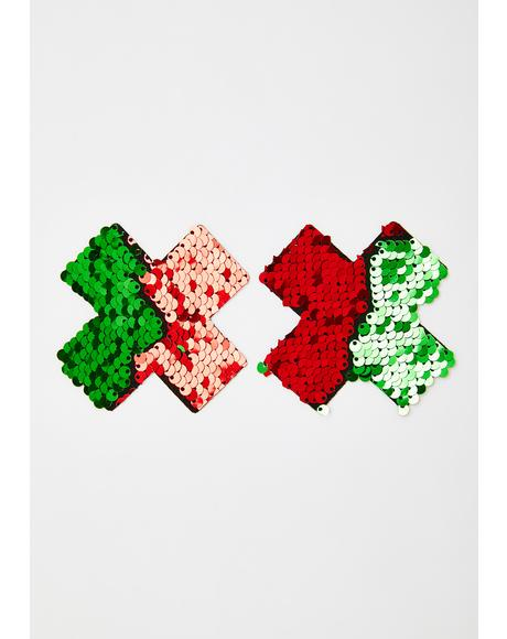 Holiday Cross Sequin Pasties