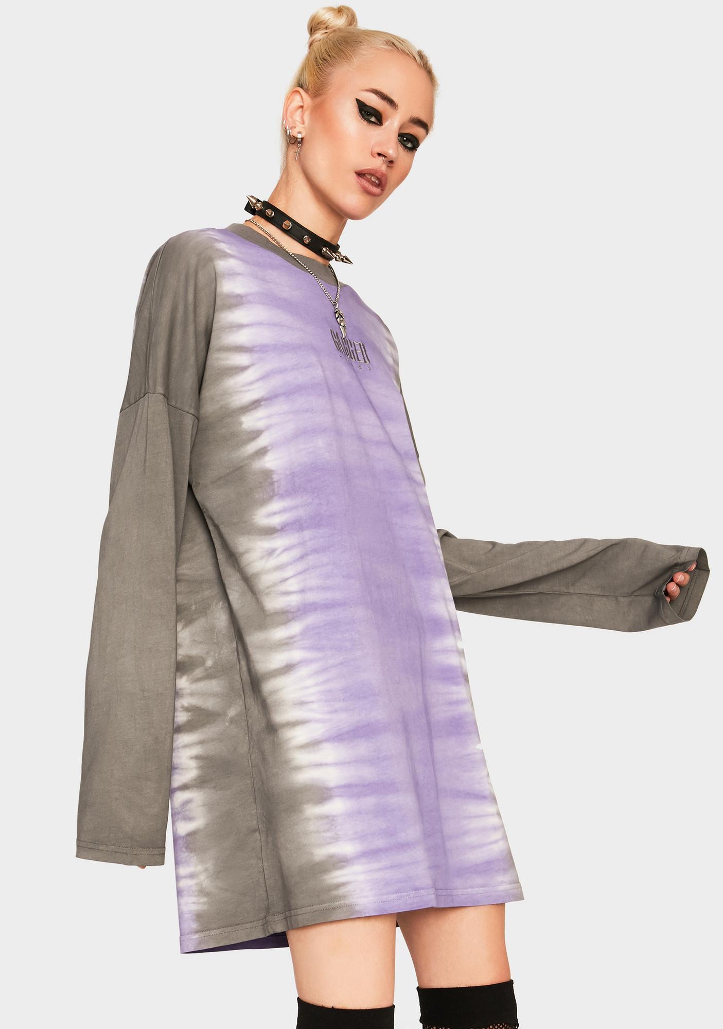The Ragged Priest Lilac Dip Dye Skater Dress