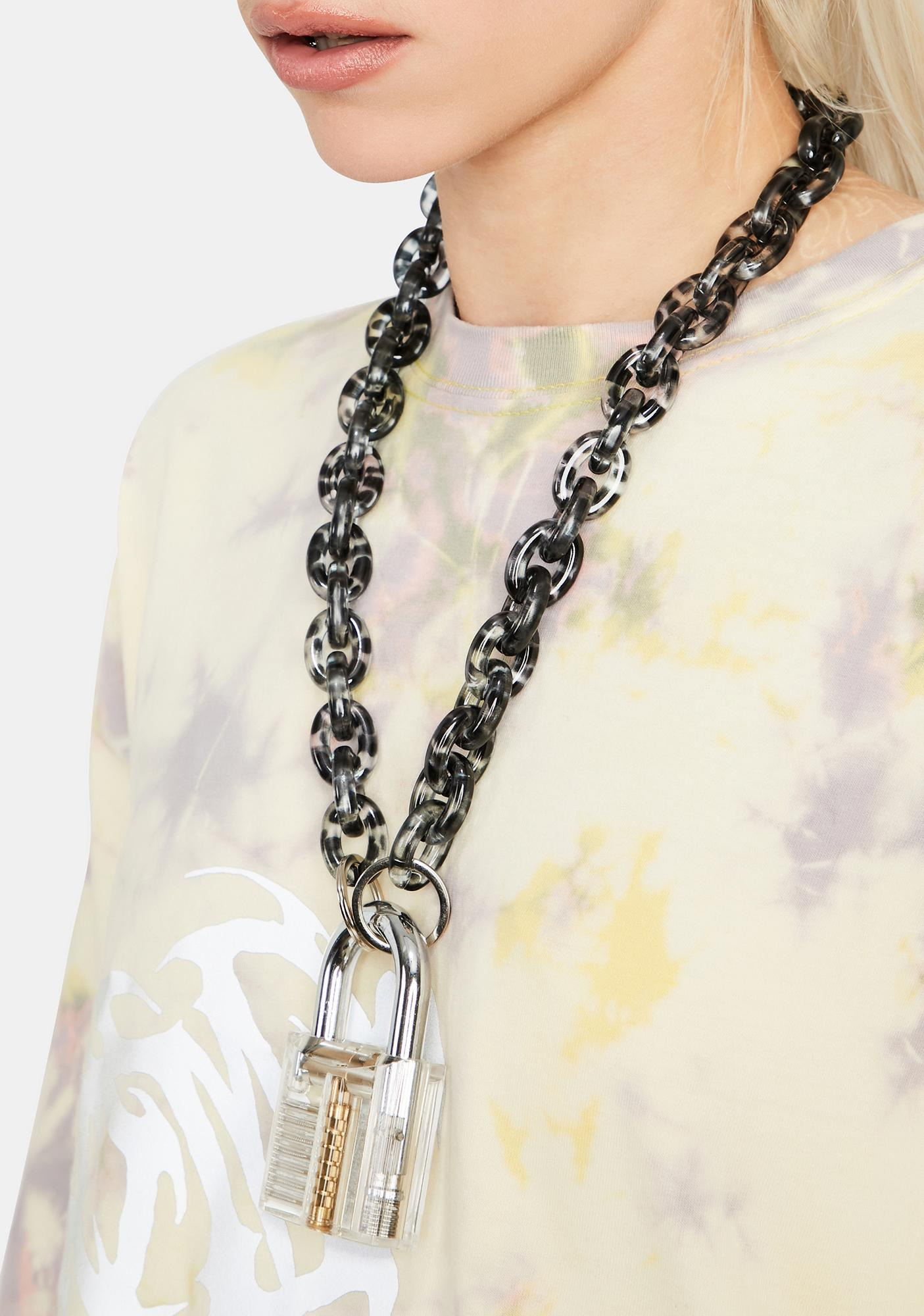 Safe Bet Chain Lock Necklace