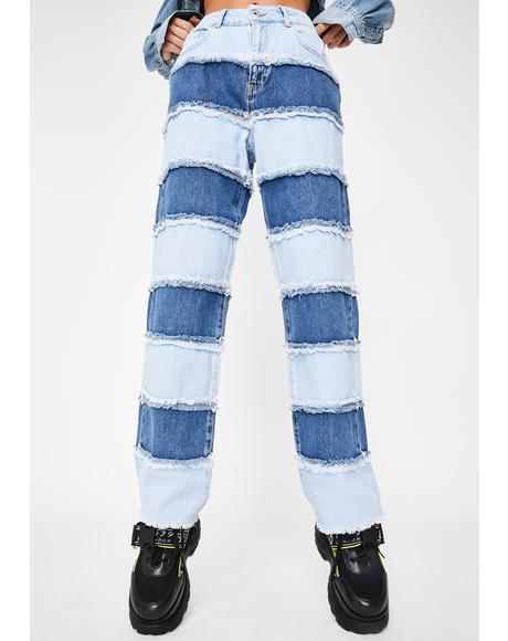 Stripe Panel Dad Jeans
