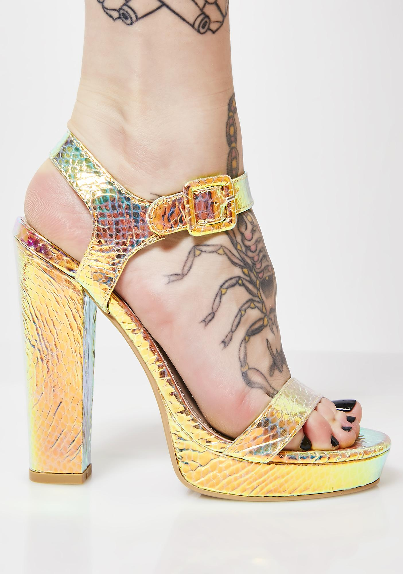 8bc914c1cacb Snake Skin Print Holographic Heels