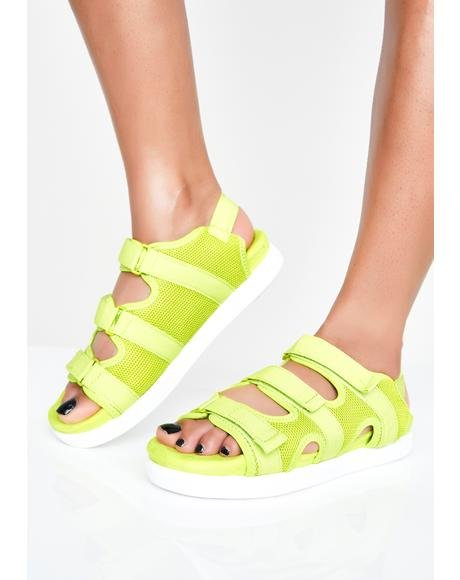 Bright Sole Velcro Sandals