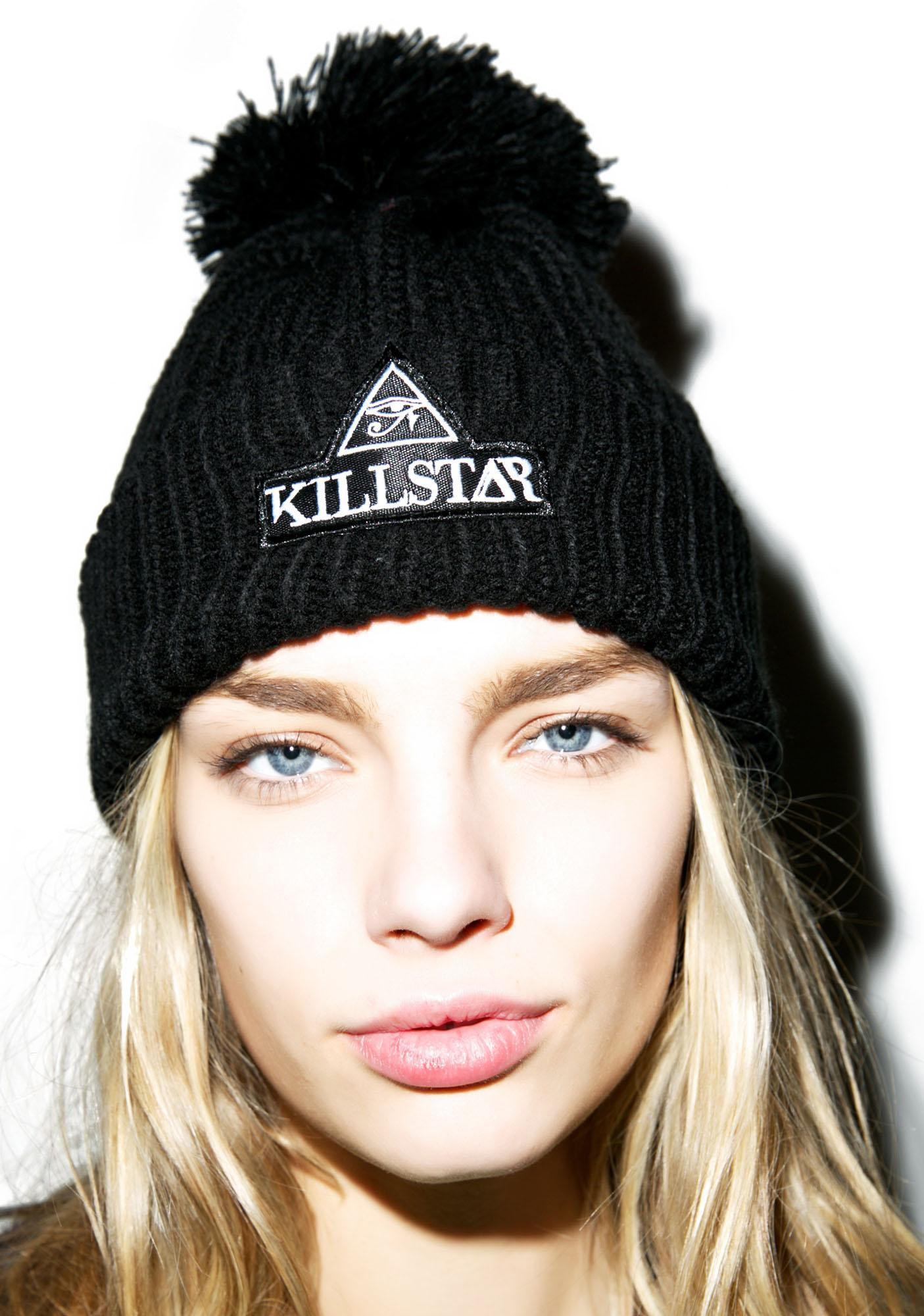 Killstar Patch Pom Beanie