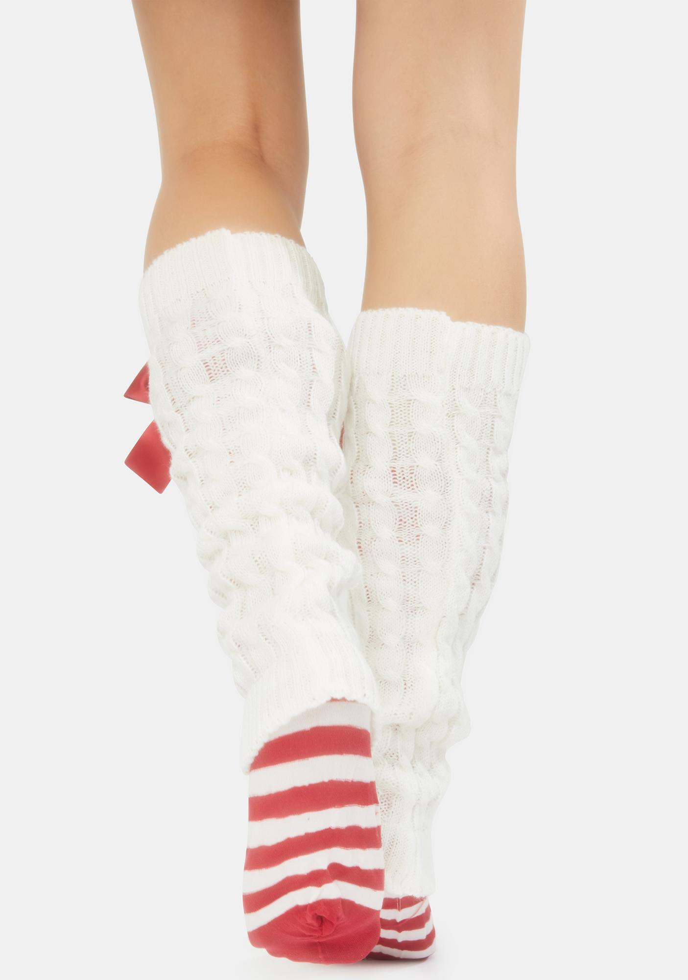 Candy Cane Knitted Legwarmers