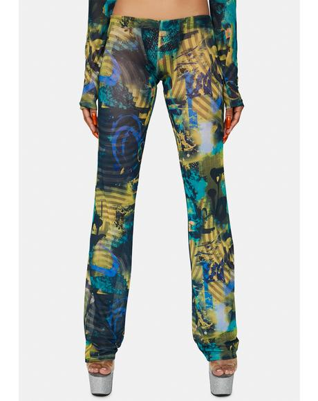 Abstract Burn Print Mesh Bootcut Trousers