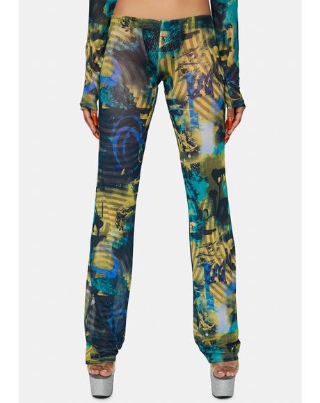 Abstract Burn Print Mesh Bootcut Trousers