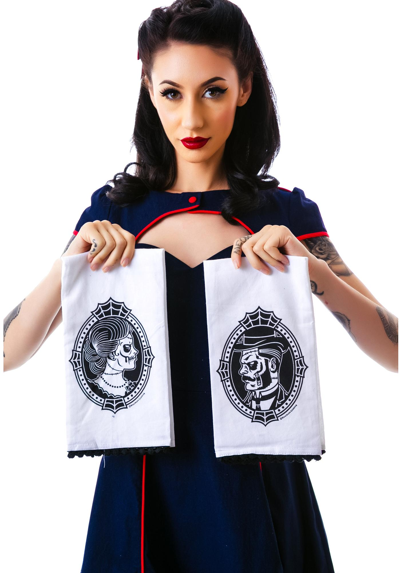 Sourpuss Clothing Zombie Cameo Tea Towel