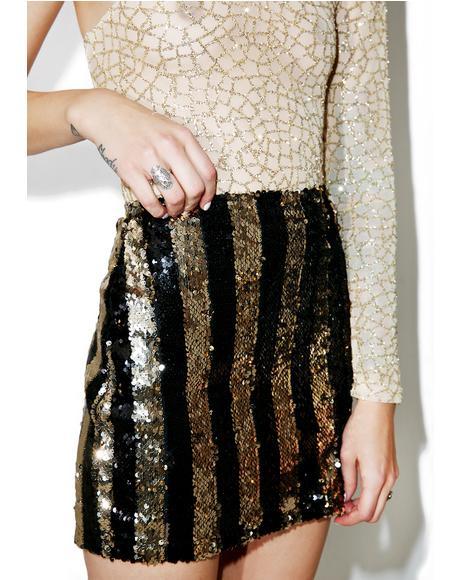 Stripe Nights Sequin Tube Skirt