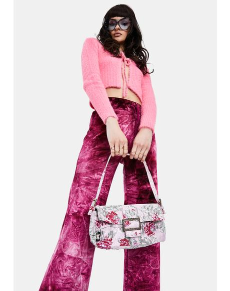 Pink Jacquard Baguette Bag