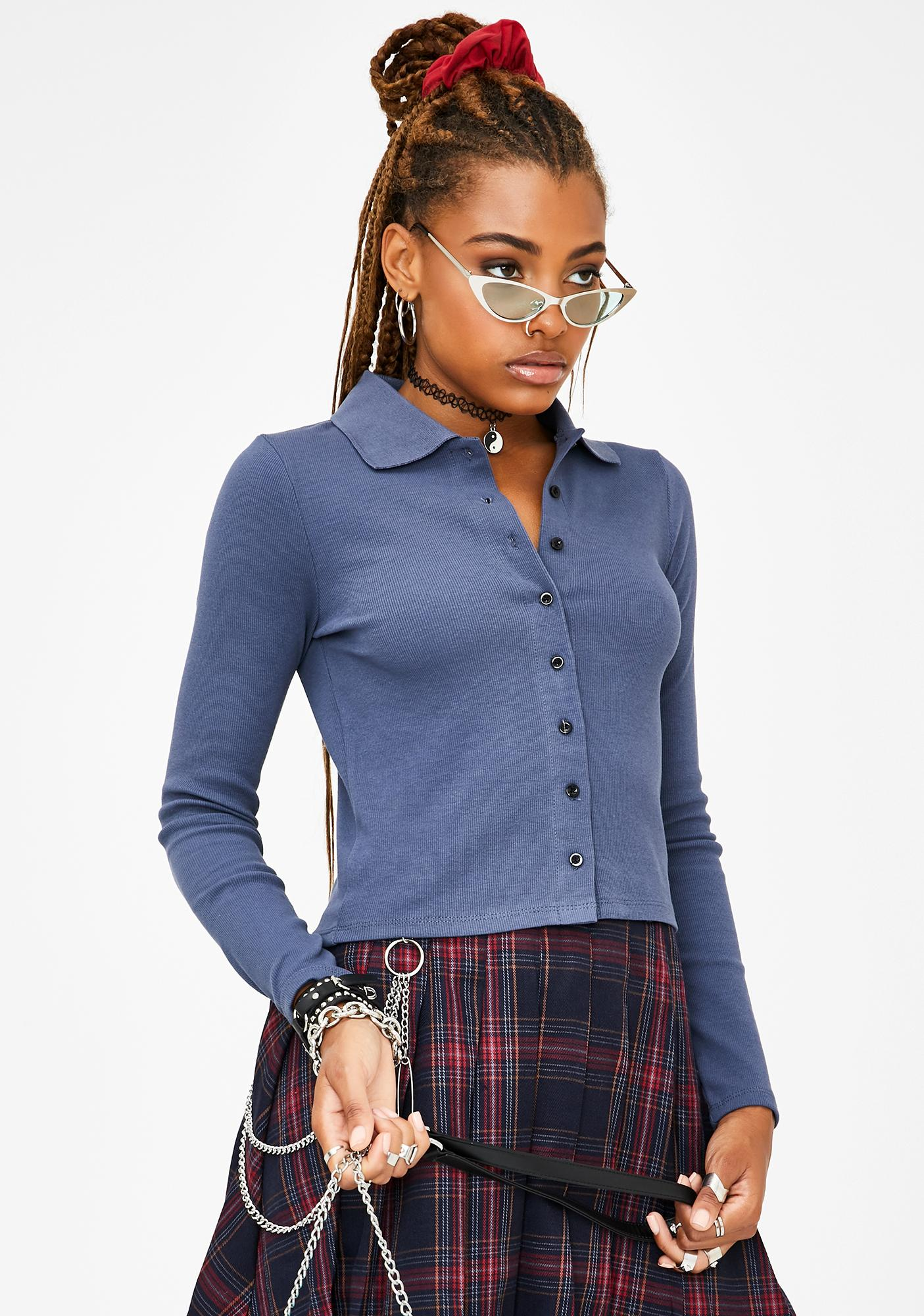 Current Mood Indigo Underrated Hottie Button Up Top