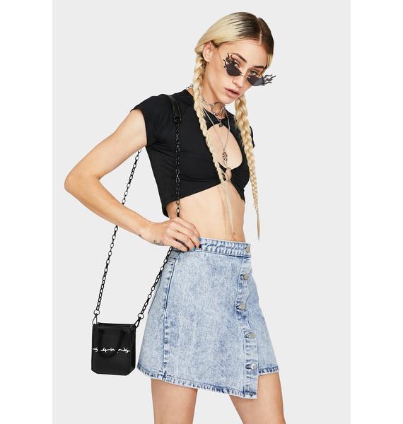 Momokrom Ice Blue Wrap Denim Skirt