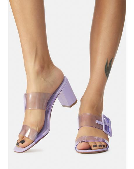 Purple Yippy Clear Slide Sandals