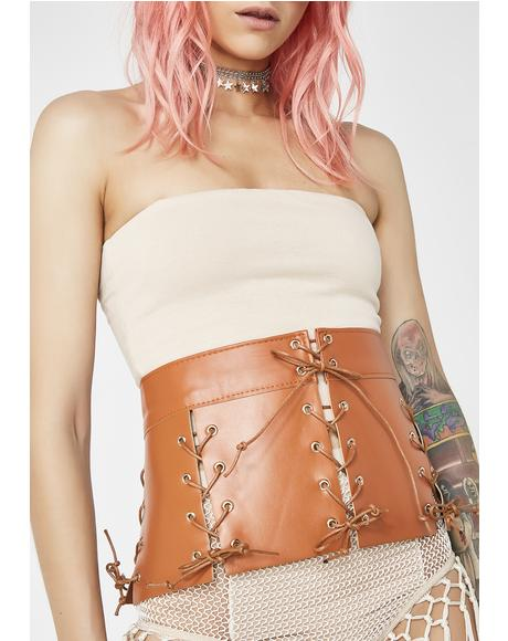 Rust Get Waisted Lace-Up Belt