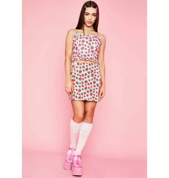 Sugar Thrillz Strawberry Fields Lace Up Top
