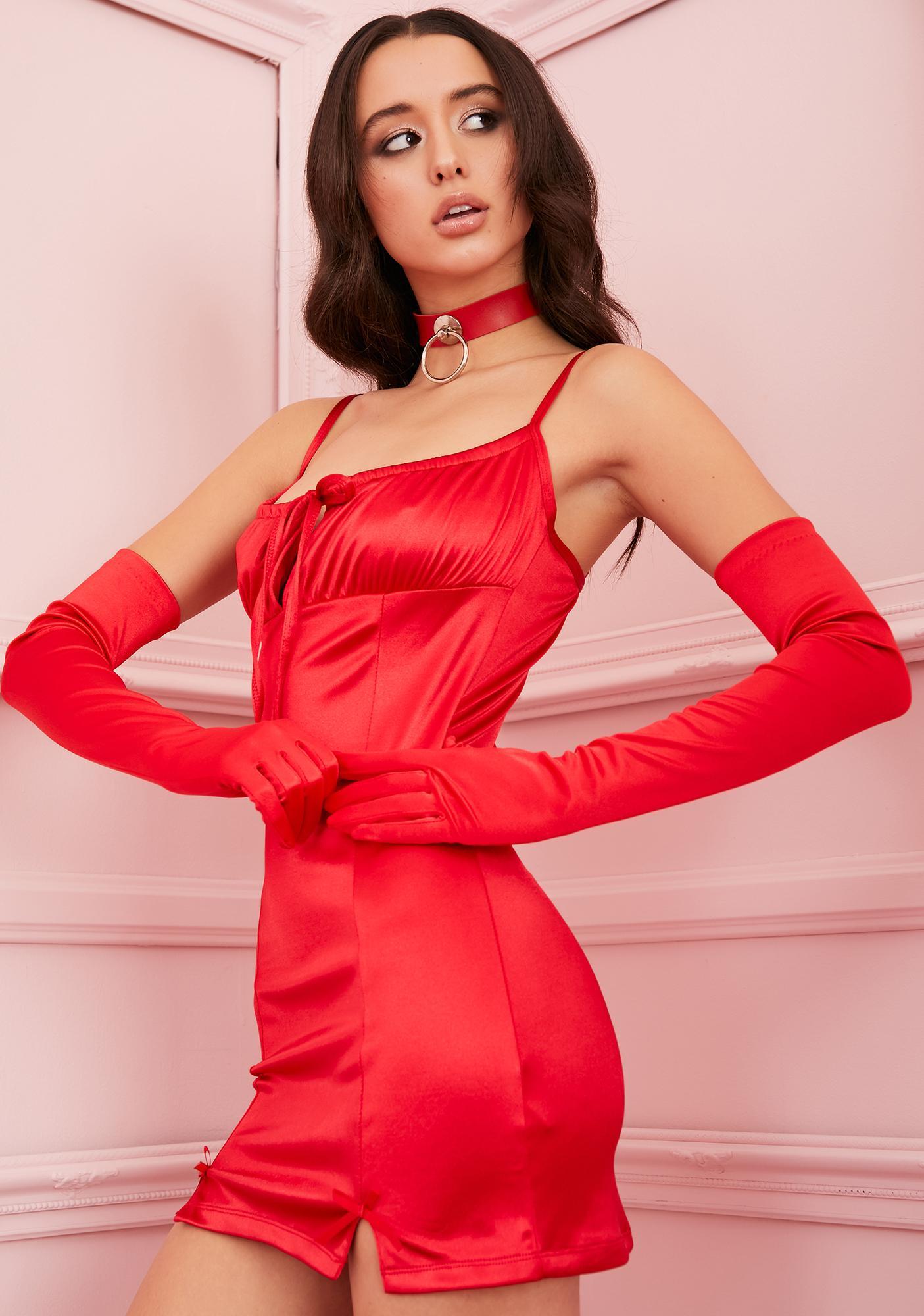 Sugar Thrillz Rouge Cupid's Crush Satin Dress
