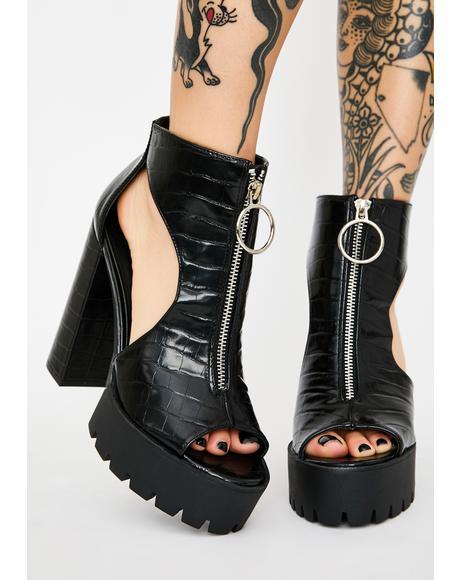 Dark Viral Freak Platform Heels