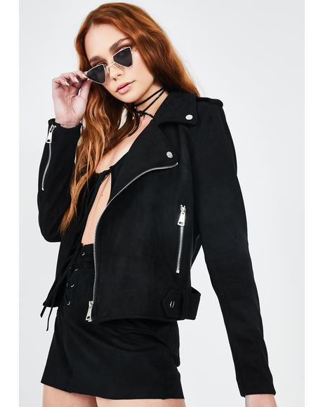 Black Faux Suede Moto Jacket