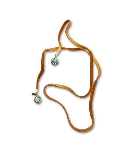 The Turquoise Tan Leather Wrap Bolo
