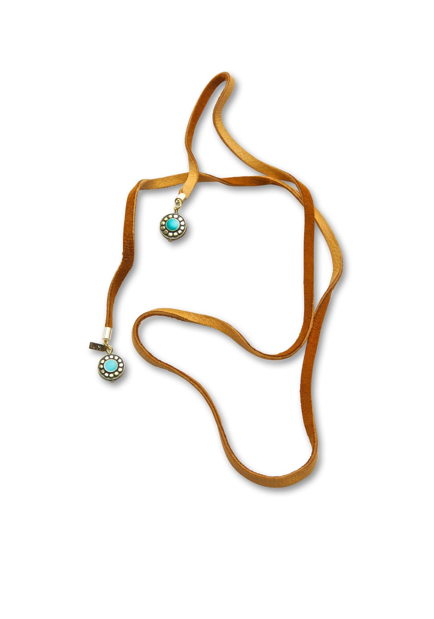 Vanessa Mooney The Turquoise Tan Leather Wrap Bolo