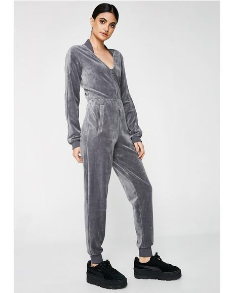Quiet Shade Velour Jumpsuit