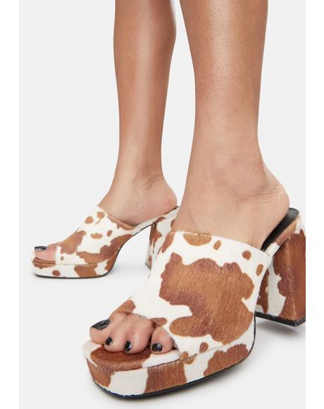 Mocha Oreo Cow Print Chunky Heel Mules
