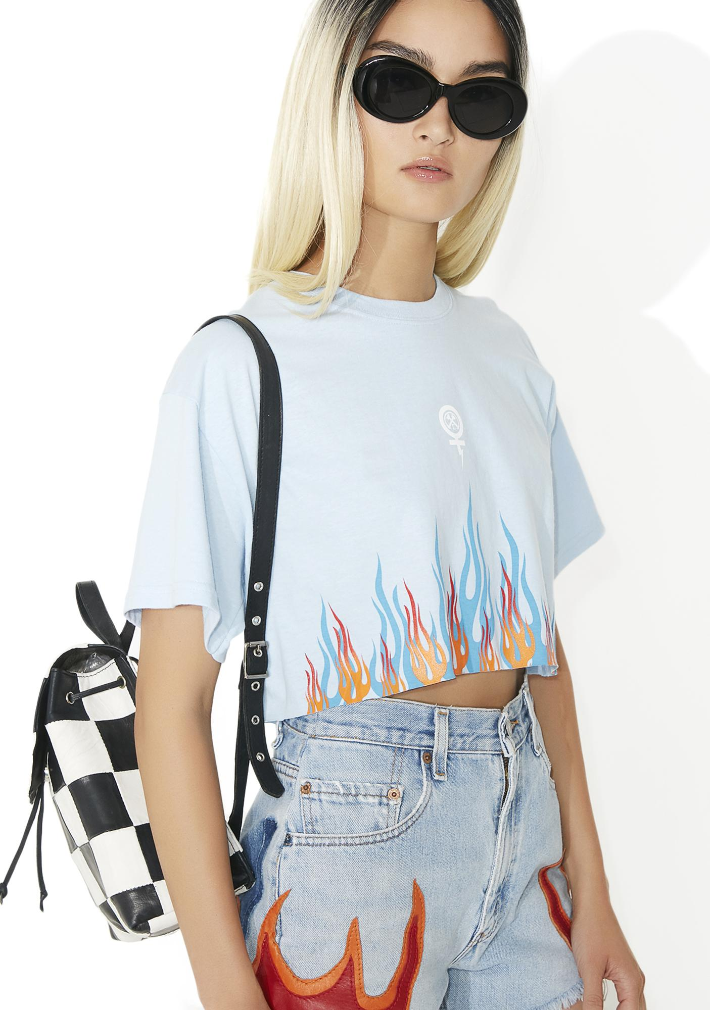 Civil Clothing Sky Litty Cropped BF Tee