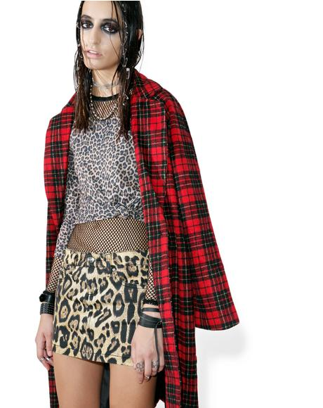 Twill Leopard Mini Skirt