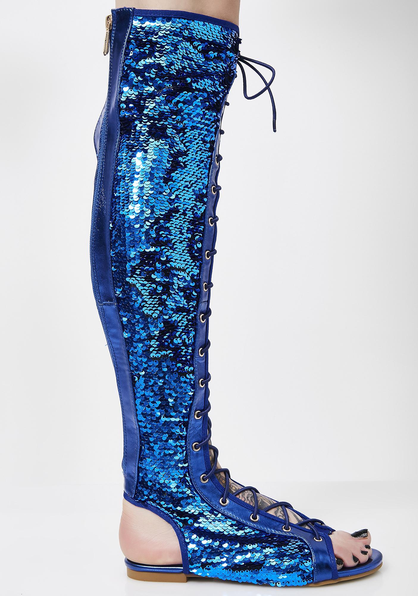 Royal Glam Steps Sequin Sandals