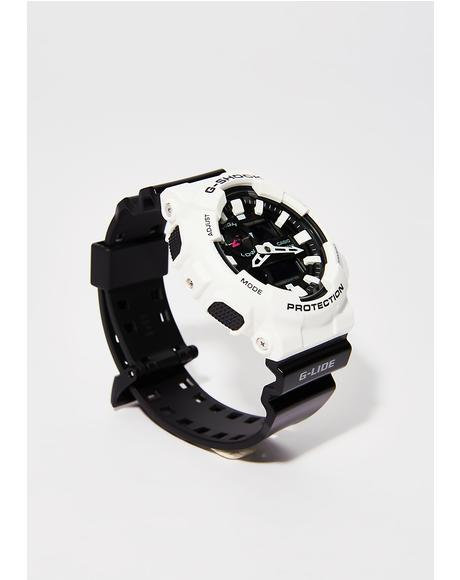 White With Black Band Watch