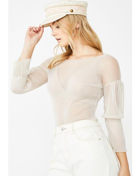 Creamy Glitter Cinched Sleeve Top