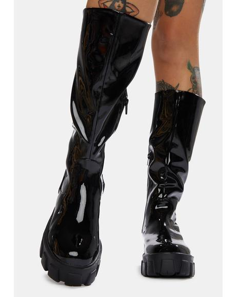 Black Karma Chunky Sole Knee High Boots