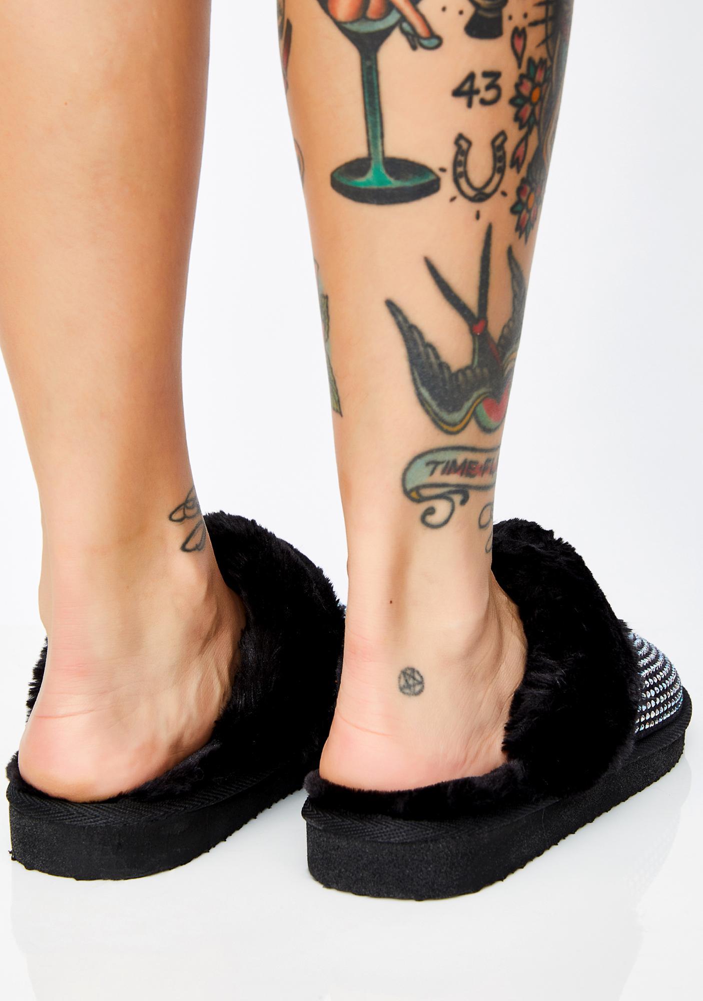 Goth Princess Poppin' Rhinestone Slippers